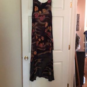 Maxi sleeveless two tiered crepe rayon dress